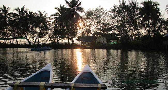 A view of the setting sun at the Aqua Farm in Poothotta, Ernakulam district, Kerala. Photo: Gitanjali Diwakar
