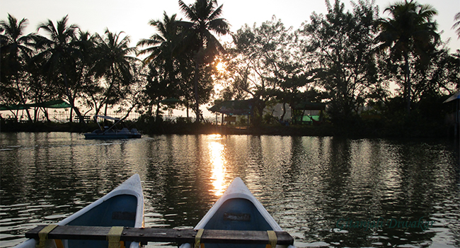 A view of the setting sun at the Aqua Farm in Poothotta, Ernakulam district, Kerala. Photo: Gitanjali Diwakar