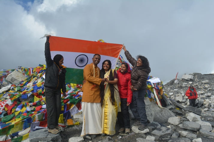 Ratheesh, Ashwathi and friends at the Everest Base Camp