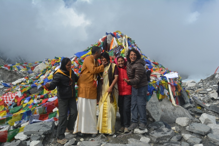 Ratheesh, Ashwathi and friend at the Everest Base Camp