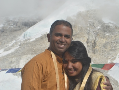 Ratheesh and Aswathi at the Everest Base Camp