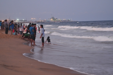 People having at Marina Beach, Chennai, Tamil Nadu