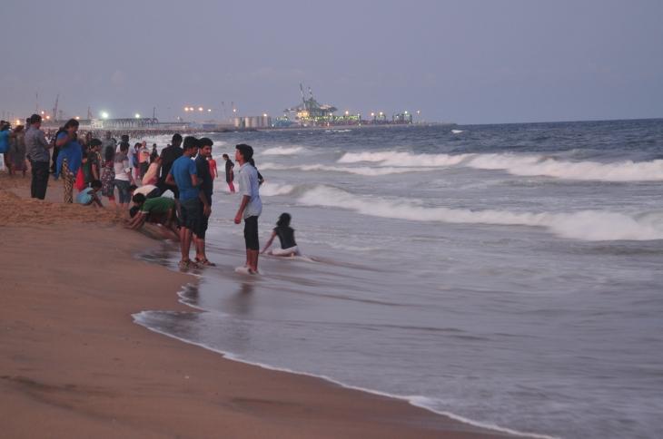 People having at Marina Beach, Chennai, Tamil Nadu