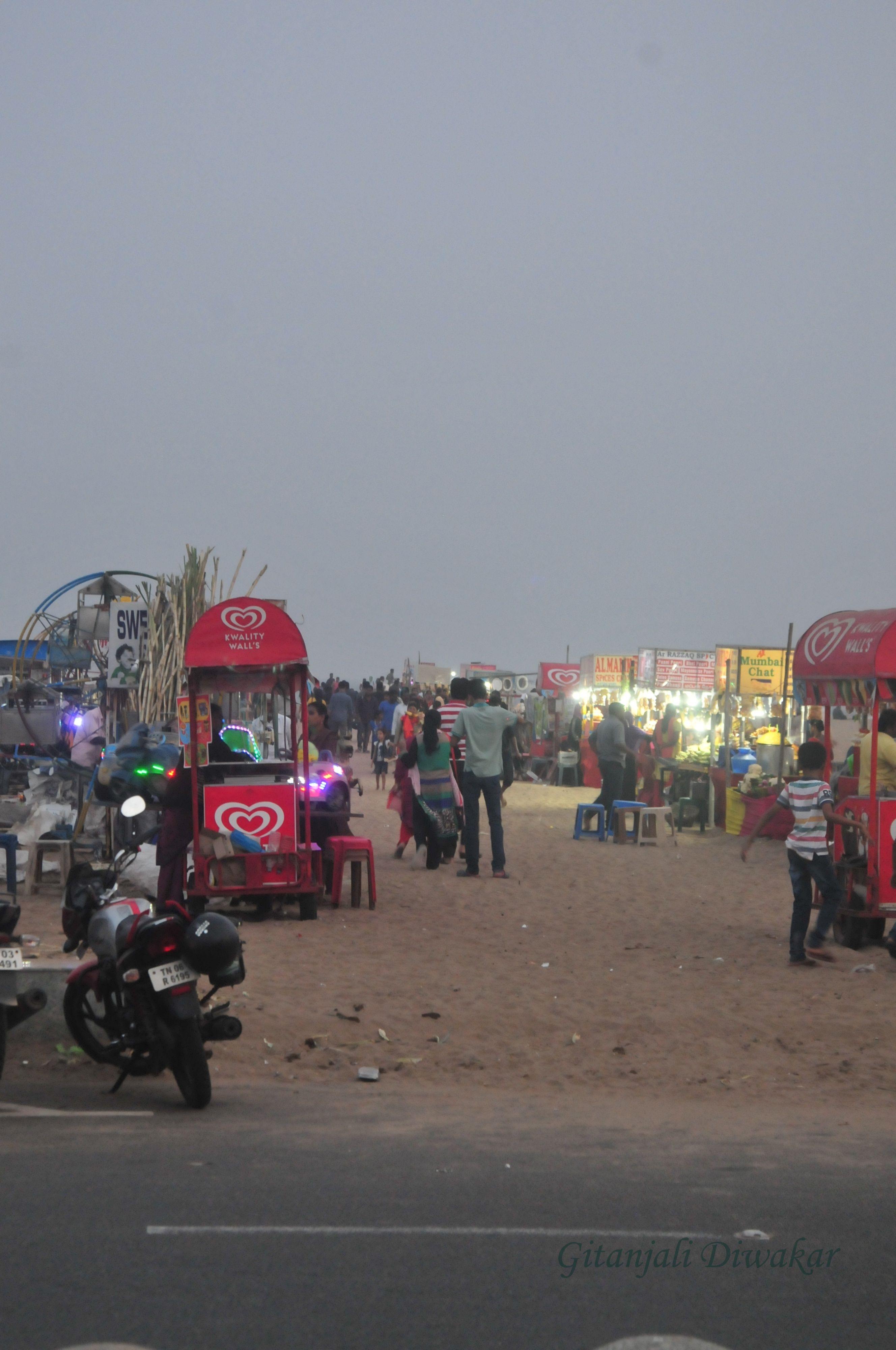 Food stalls in Marina Beach, Chennai  Tamil Nadu, India