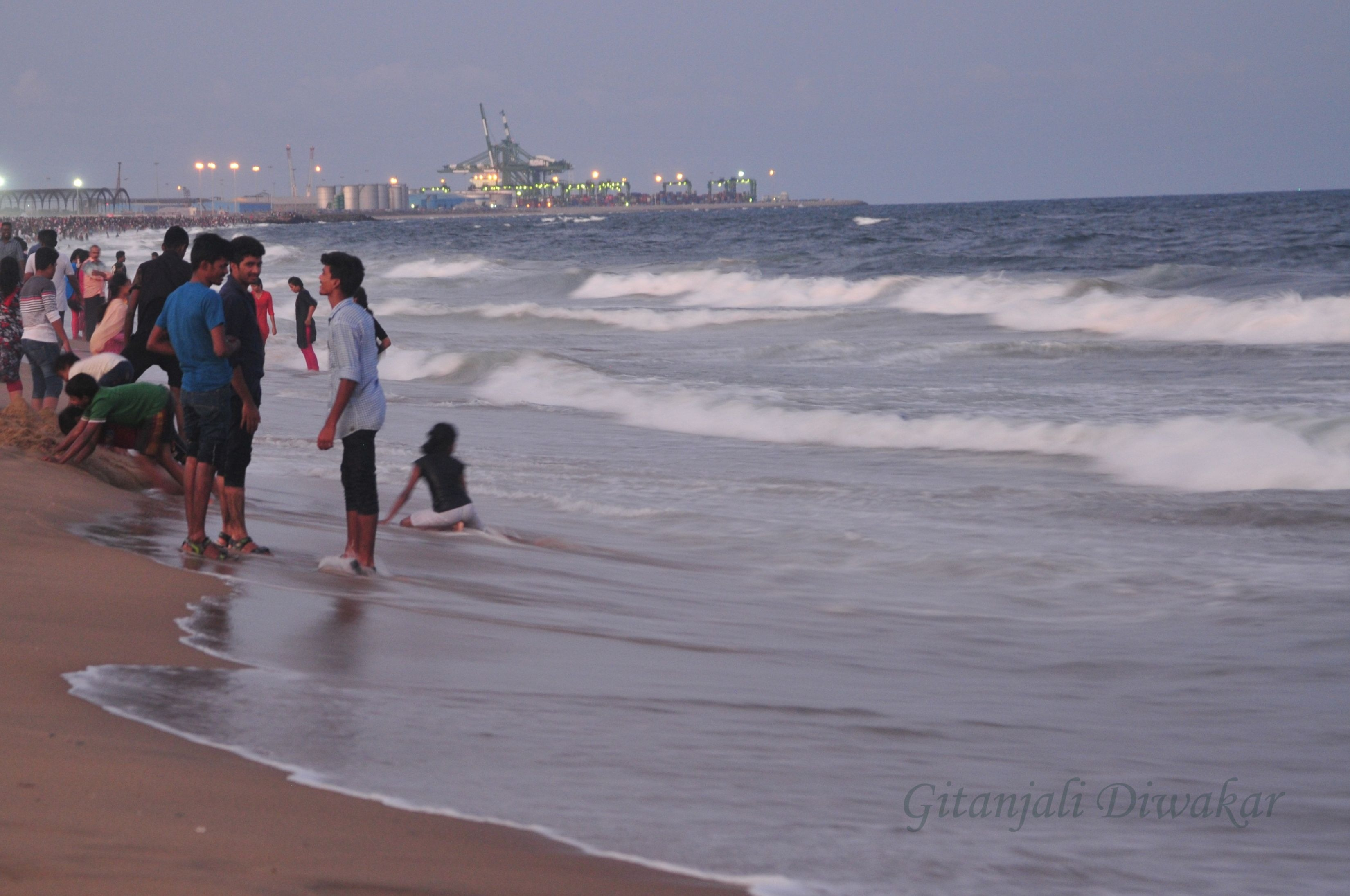 People in Marina Beach, Chennai  Tamil Nadu, India