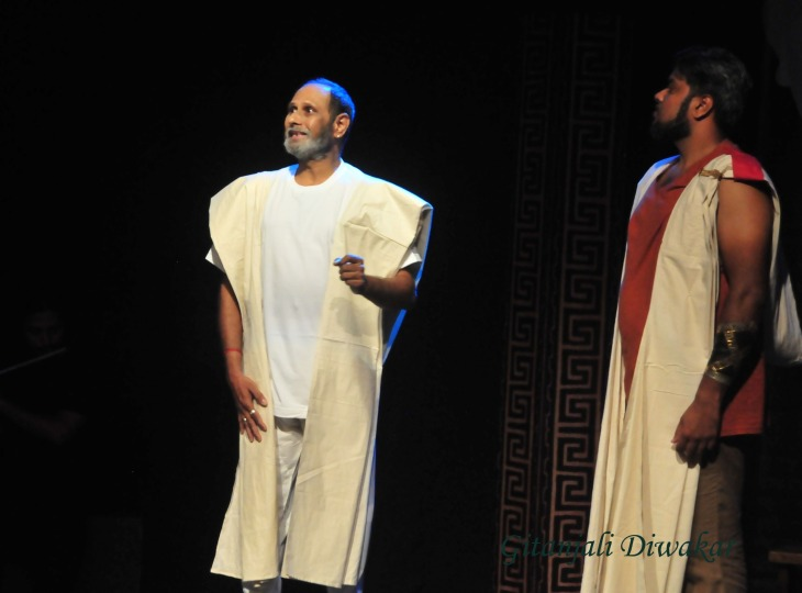 A scene from Antigone presented on World Theatre Day by the Chennai-based theatre group called Masquerades