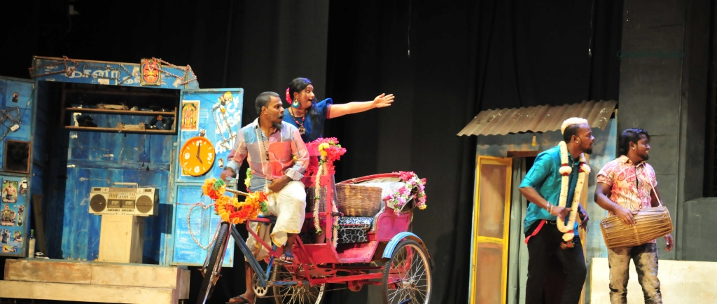 A scene from the play 'Chandala'