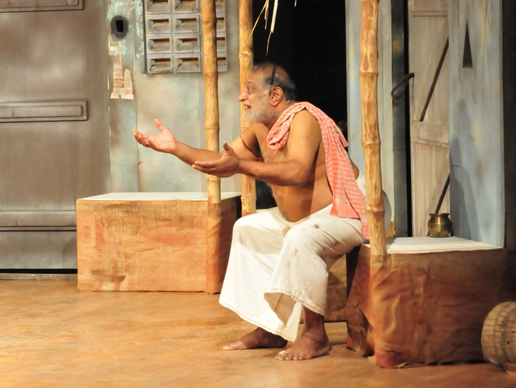 D Ramachandran in the play 'Water' directed by P C Ramakrishnan